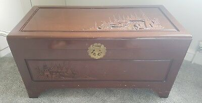 Oriental Heavily Carved Camphor Wood Chest with Key