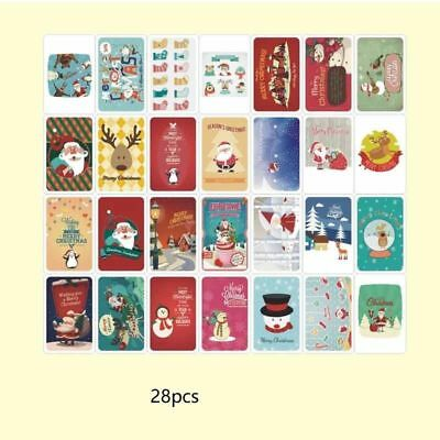 28 pages Cute Cartoon Christmas Wishes Greating Memo Cards Mini Size 3.3in /8cm