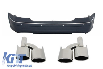 Rear Bumper Mercedes E Class W211 02-09 AMG Design PDC+Exhaust Muffler Tips