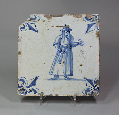 Antique Dutch Delft blue and white tile, circa 1630-50