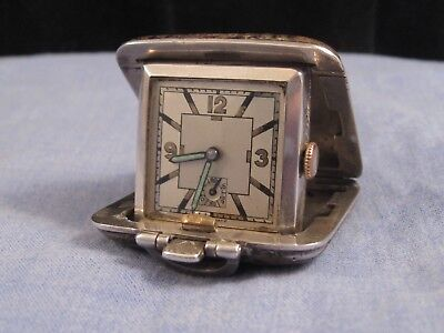 Pocket Watch Swiss Sterling Silver 1935 Flip Pop Up Travel Art Deco Antique