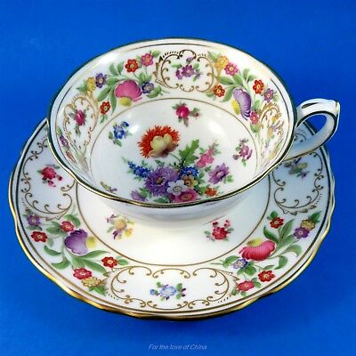 Pretty Colorful Floral Dresden Sprays Hammersley Tea Cup and Saucer Set