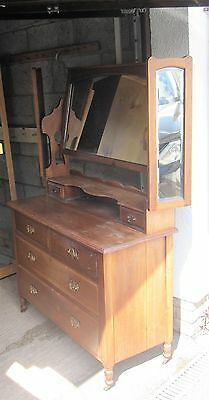 Edwardian wooden  dressing table with 3 mirrors
