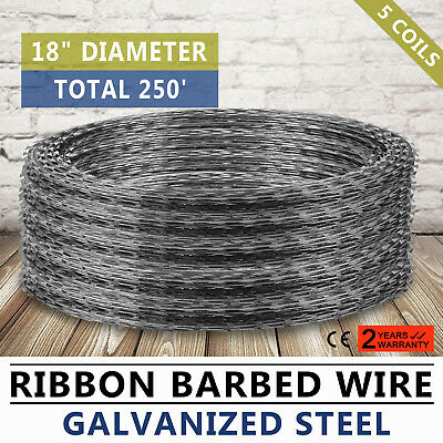 "Razor / Helical Barbed Wire Galvanized Steel 18"" 5 Coil 250 Feet Coverage"