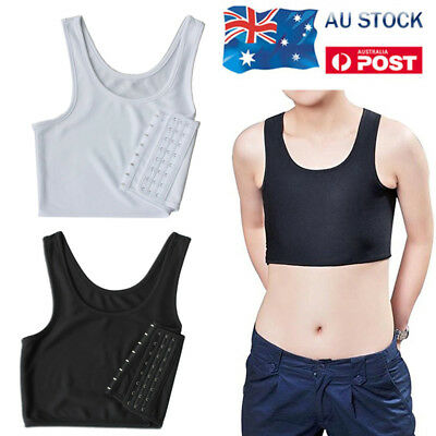 AU Casual Breathable Buckle Short Chest Breast Binder Trans Lesbian Tomboy KY