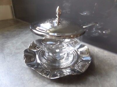Vintage Glass Jam Dish with silver plate Tray, Spoon & Lid