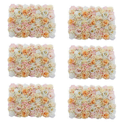 6pcs Artificial Flower Panels Wall Hanging Ornaments Wedding Decor Champagne