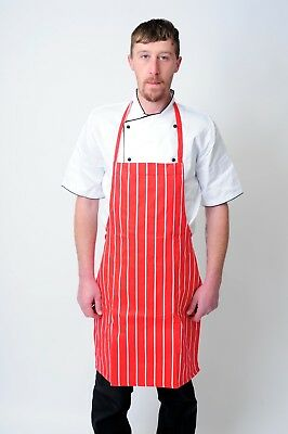 Red And White Apron Butchers Catering Cooking Professional Chef Aprons Navy