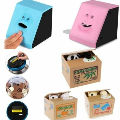 Digital Piggy Bank Panda Cat Steal Money Coin Saving Box Case Storage Kids Gift