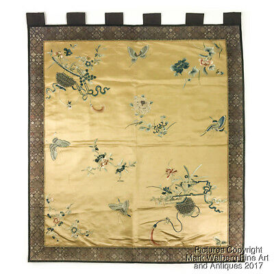 Chinese Embroidered Gold Silk Textile Panel with Butterflies and Flower Baskets