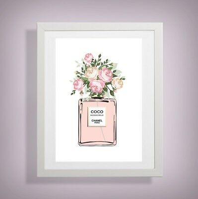 COCO Chanel flowers perfume bottle print home wall art dressing room picture