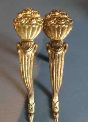 Decorative Pair Antique French Gilded Brass Curtain Pole Holders - Vase Of Roses