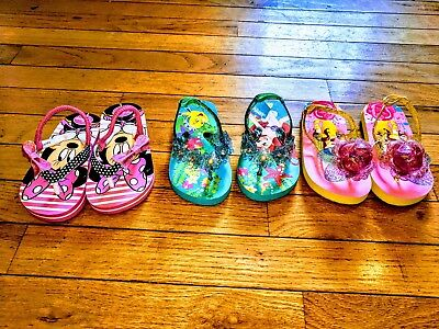 3 pairs of DISNEY BRAND Toddler Girl Sandals size 7-8 , EXCELLENT CONDITION