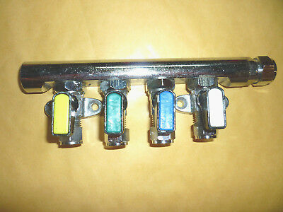four 4 way gas tap manifold 10mm / 8mm with olives selfbuild camper motorhome