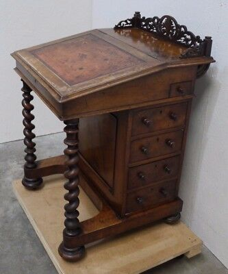 19th C. Mahogany Davenport w/ Twist Column Legs & Original Leather Top (208)