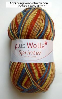 plus wolle 100 g  Sockenwolle 4-fädig Sprinter color  Fb.7799