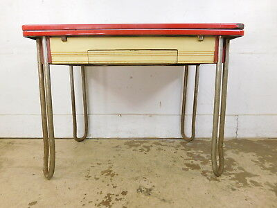 Vintage 1950s Enamel Top Kitchen Extension Table White & Red Hairpin Chrome Legs