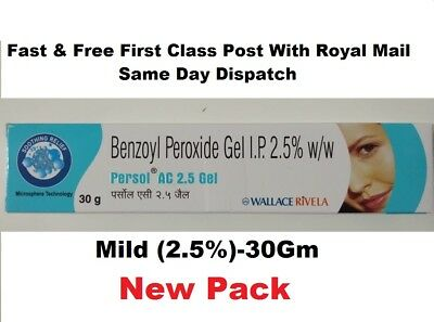 New Benzoyl Peroxide Gel 2.5% Persol AC for Acne Vulgaris Spots Pimple 30Gm Pack