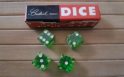 """Vintage Crisloid Green CHEATERS Lucite dice. 4 dice 1/2"""""""