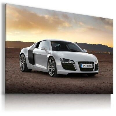 AUDI R8 WHITE Sport Cars Large Wall Canvas Picture ART AU530  MATAGA