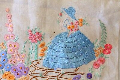 Vintage Heavily Hand Embroidered Crinoline Lady Panel - Cottage Garden