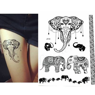 Black Henna Elephants Temporary Tattoos Arms Henna Female Design Tattoo Stickers