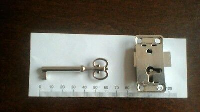 Vintage Furniture Key Hollow Barrel And Lock To Fit W/robe,bureau ,cabinet