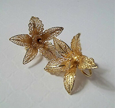 Vintage Antique Yellow Gold Vermeil 925 Silver Filigree ORCHID Flower Earrings
