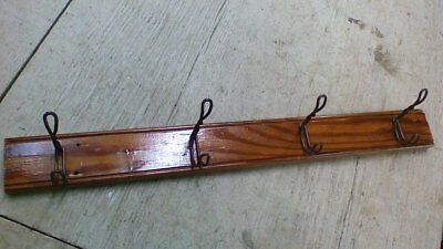 Antique 4 Double Hooks Coat Hat Rack Vintage Wall Mount Wood Primitive