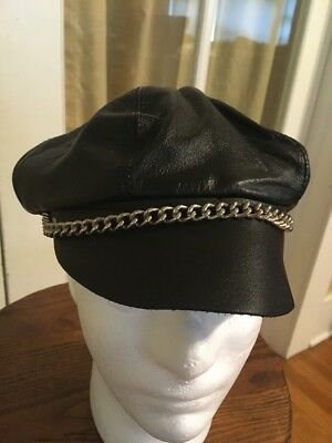 Vintage Leather Biker Motorcycle Hat Cap Black with Chain 1970s USA Made