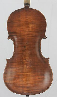 Very old antique 4/4 Violin Fiddle One piece back with pins Restored 1914 repair