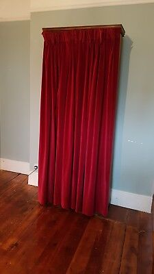 Antique folding wooden bed, with velvet curtain disguise - genuine & rare