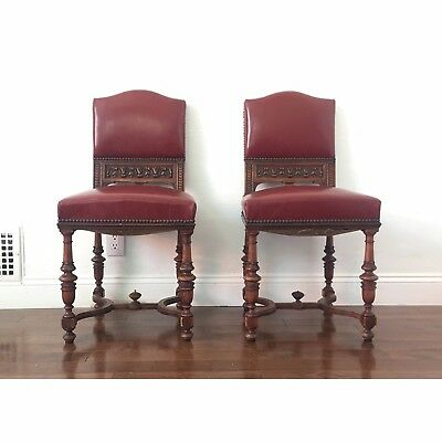 Pair Of Hand-Carved Spanish Oak & Leather Dining Chairs - Red Leather Chairs