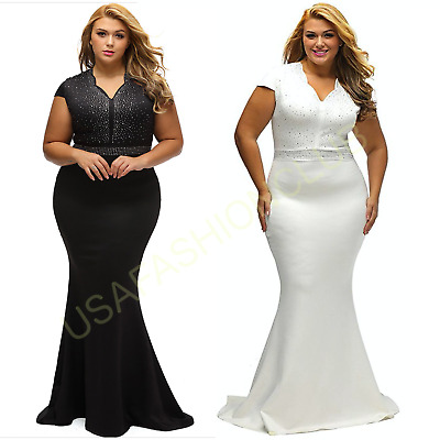 Women's Plus Size Formal Bridesmaid Cocktail Evening Party Ball Gown Long Dress