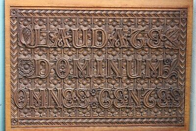 STUNNING MID 19thC GOTHIC OAK WOODEN PANEL WITH TRACERY CARVINGS & LATIN 1840s