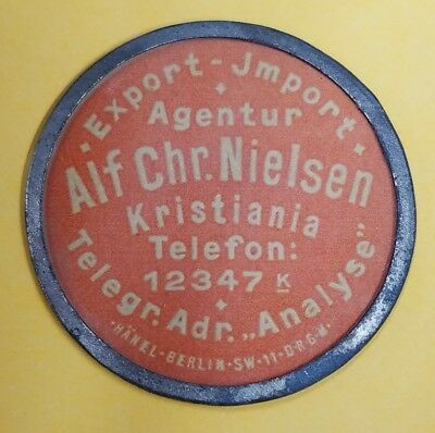 Norway 1 Ore Alf Chr Nielson Advertising Encased Postage Stamp c. 1920