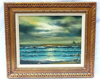 Vintage Mid Century Seascape Evening Golden Sunset Oil Painting Signed Collins