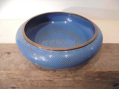 Antique Chinese Cloisonne Blue Bowl