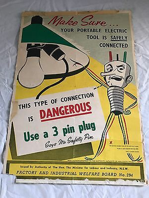 Original 1950/1960's Industrial Electrical Safety Poster - Workshop/Home- RARE