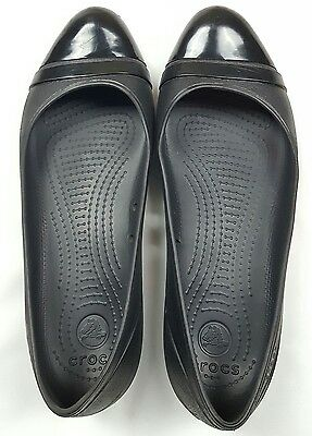 Crocs Women's Size 11 Black Toe Cap Ballet Flats Waterproof Comfort Shoes