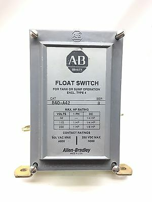 New Allen Bradley Float Switch 840-A42 with 1490-N9 2 Normally Closed Contacts