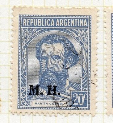 Central & South America 188369 Argentina 1936-38 Early Official Mh Optd Issue Fine Used 20c Stamps