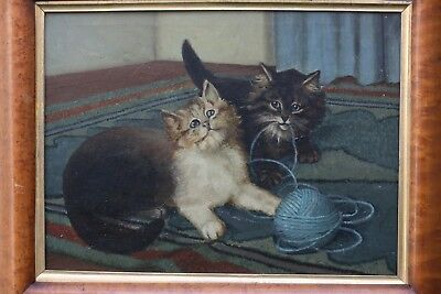SUPERB MID 19thC OIL PAINTING ON CANVAS OF PAIR OF CATS WITH BALL OF WOOL c1860s