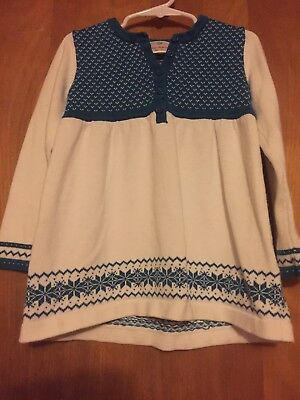 Hanna Andersson Girls Size 120, 6-7  Tunic Sweater Fall Winter Blue Ivory