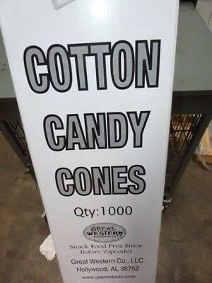 "1000 pk Great Western Food Grade Cotton Candy Cones Heavy Duty White 12"" Long"