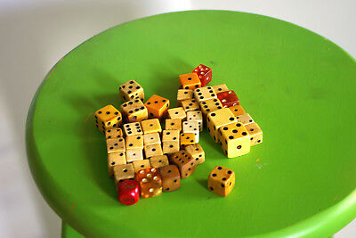 Lot of 42Vintage dice (60+ years old) dice Lucite, bone, wood and possible ivory