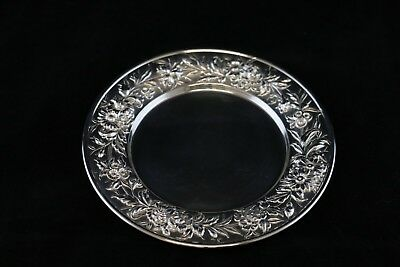 "S Kirk & Son Repousse Sterling Silver Bread Plate - 6 1/4"" - #127F"