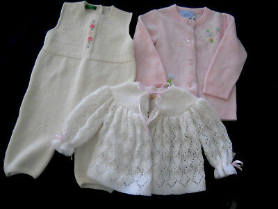 LOT 3 VINTAGE KNIT SWEATERS & LONG ROMPER 3-6-9 mo MAY KNIT CROSSIANT BENETTON
