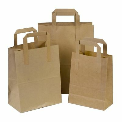 50 X Kraft Brown SOS Takeaway paper Carrier Bags with Flat Handles 25x30+14 cm