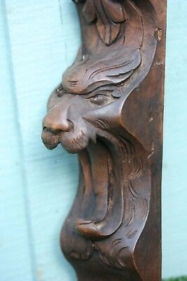 SUPERB: 19thC GOTHIC WOODEN MAHOGANY INTRICATE LION HEAD CARVED CORBEL c1880s